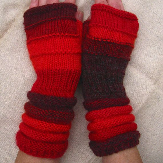 Red Fingerless from full heart. Unmatched Hand Knit Striped Mittens with upcycled wool and kid mohair $44