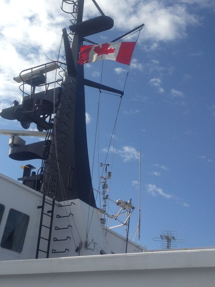 Looking up at the Canada flag during a ride over to the island.