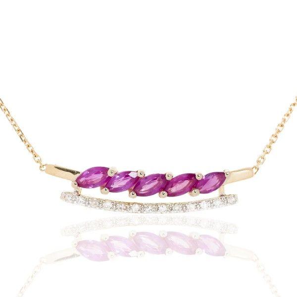 Collier Or 750 - Modèle navette Rubis & Diamants