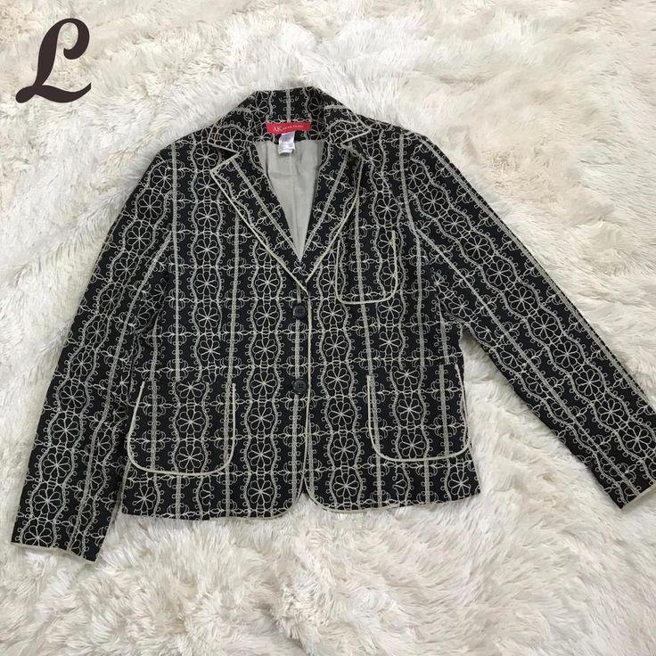 AK Anne Klein Womens Blazer Embroidered Jacket Lined Black Tan Stretch Size 16 #AnneKlein #Blazer