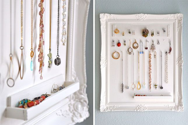 Frame and Moulding Organizer | 30 Clever Ways to Keep Your Jewelry Organized