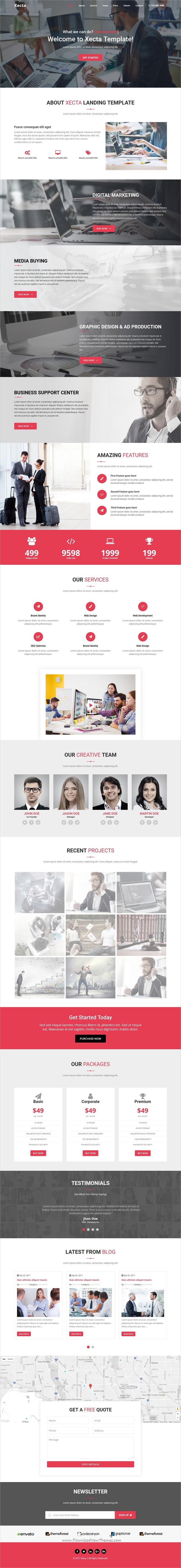 Xecta is clean and modern design responsive #bootstrap template for onepage creative #landingpage website download now..