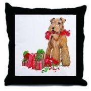 Airedale Terrier Christmas Pets Throw Pillow by CafePress