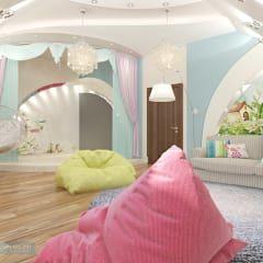 Игровая комната для детей на мансарде коттеджа: Детские комнаты в . Автор – Студия интерьера Дениса Серова