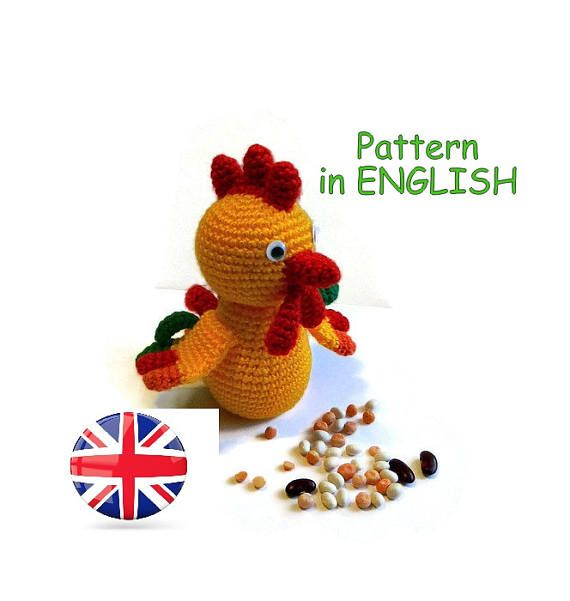 https://www.etsy.com/listing/520227218/rooster-crochet-pattern-amigurumi?ref=shop_home_active_1 #Rooster Crochet Pattern #Amigurumi #Pattern