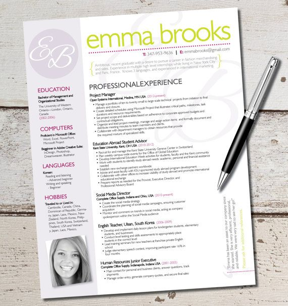 the emma resume template design graphic design marketing sales customer service