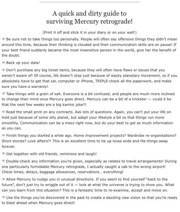 SURVIVING MERCURY RETROGRADE [2018 Retrograde Dates]: Mar.22 - Apr.15 in Aries / Jul.25 - Aug.18 in Leo / Nov.16 - Dec.6 in Saggitarius-Scorpio