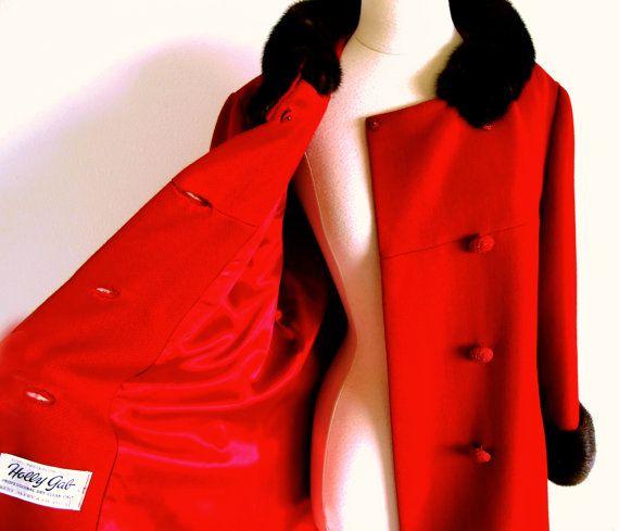 Vintage 60er Jahre Kragen Nerzmantel rot von StraylightVintage