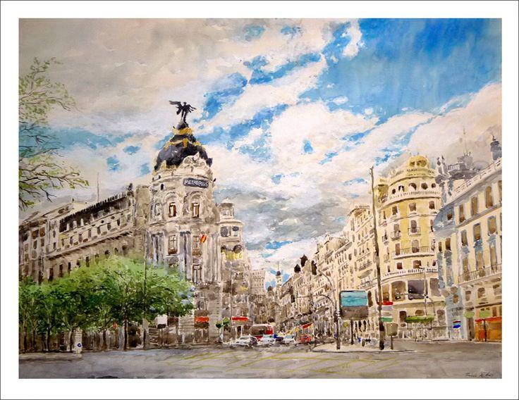 Cuadro de la Gran Vía de Madrid. Vista del edificio Metropolis desde la esquina de la calle Alcalá hacia Gran Vía | Rubén de Luis Rubio