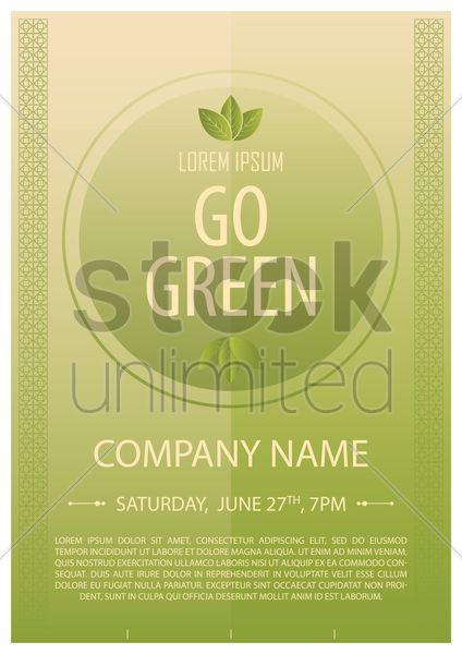 go green poster Stock Vector