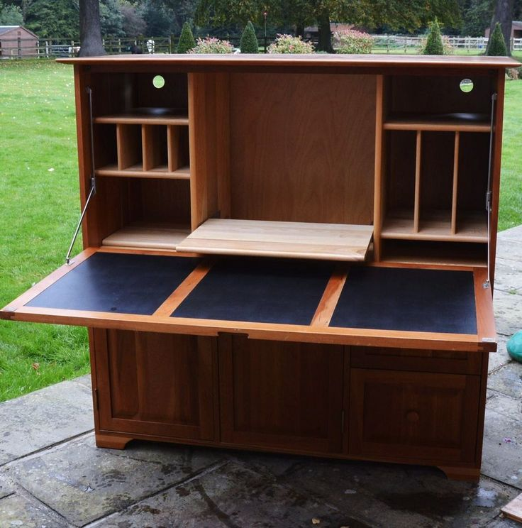 Hideaway Desk, Workstation, Bureau Solid Cherry Wood Great