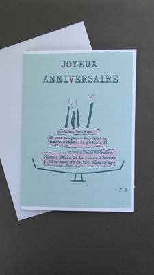 carte d'anniversaire pour inscrire votre message aux couleurs vintage verte et rose, avec texte joyeux anniversaire