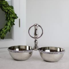 Skål dubbel med handtag Lyx - silver