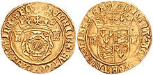 Gold crown hit around 1545 with the Tudor rose on the obverse, and the coat of arms of England on the reverse
