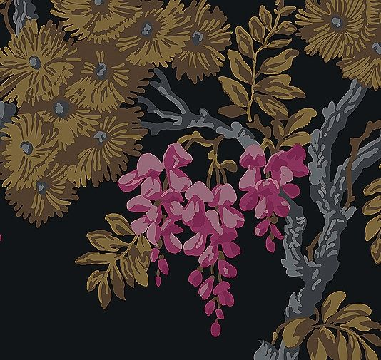 Wisteria Wallpaper A multicoloured rich design reminiscent of Urushi lacquer work. Brown, mustard, pink and grey print on lacquer black background.