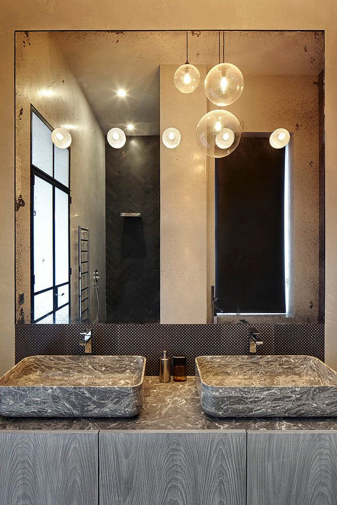 """Nabhi Bowl No. 10"" sink in grey St. Marie marble by Kreoo in the bathroom of a residence in London, UK designed by Dyer Grimes Architects #MarbleBath #MarbleSinks #LuxuryBath"