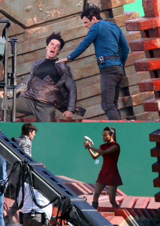 Who is Spock Vulcan nerve-pinching in the first Star Trek 2 photos?