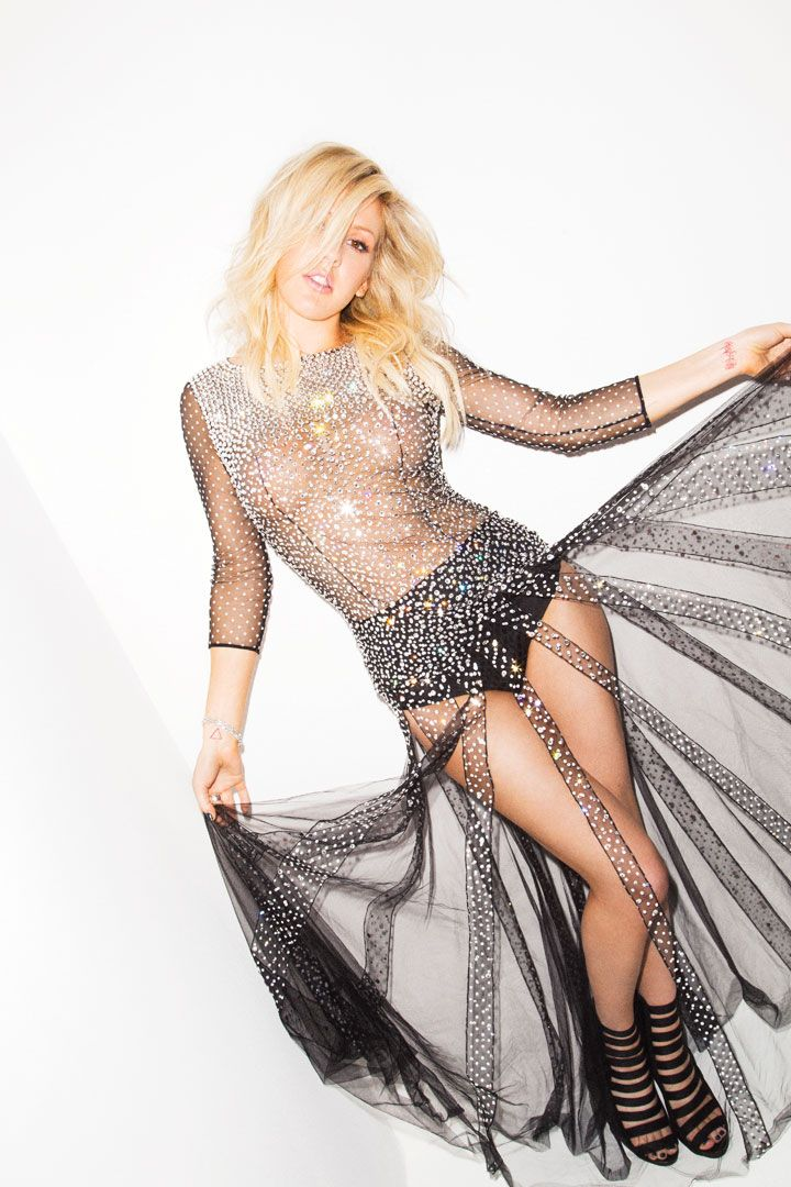 Ellie Goulding in Cosmo.  Love the dress. Dress, Blumarine; brief, Wren x The Lake and Stars, $95; bracelet, Simon G. Jewelry; rings, Pomellato
