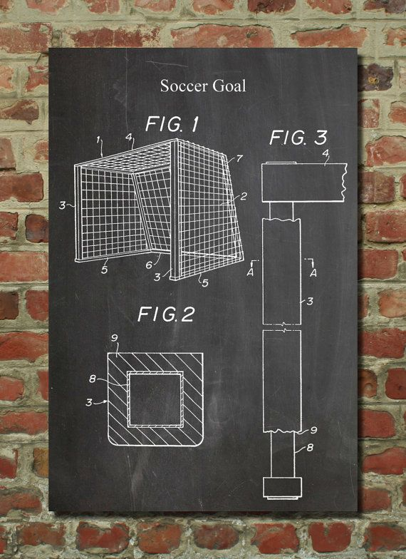 Soccer Goal Patent Wall Art Poster    This patent poster is printed on 90 lb. Cardstock paper. Choose between white, parchment, and gunmetal paper.