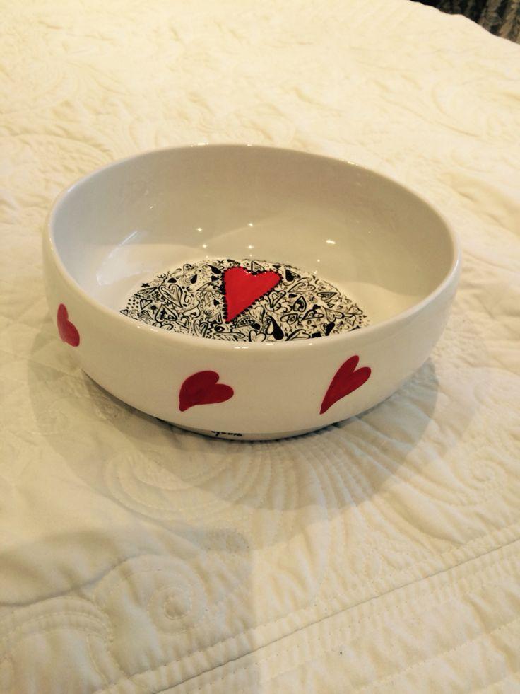 Heart salad bowl hand painted by Lynda McBride