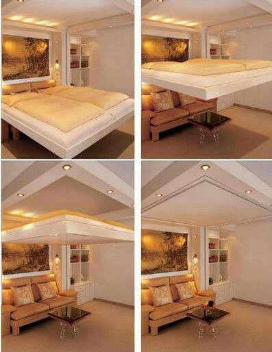 For a tiny house idea <3/ A bed that comes down from the ceiling!