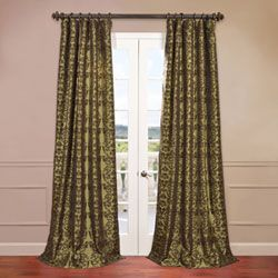 firenze green 50 x 120inch flocked curtain