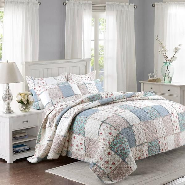 New Cotton Patchwork Quilt Set 3pcs Floral Printed Bedding Quilted Bedspread Bed Cover Sheets Shams Coverlet King Size With Images Quilt Sets