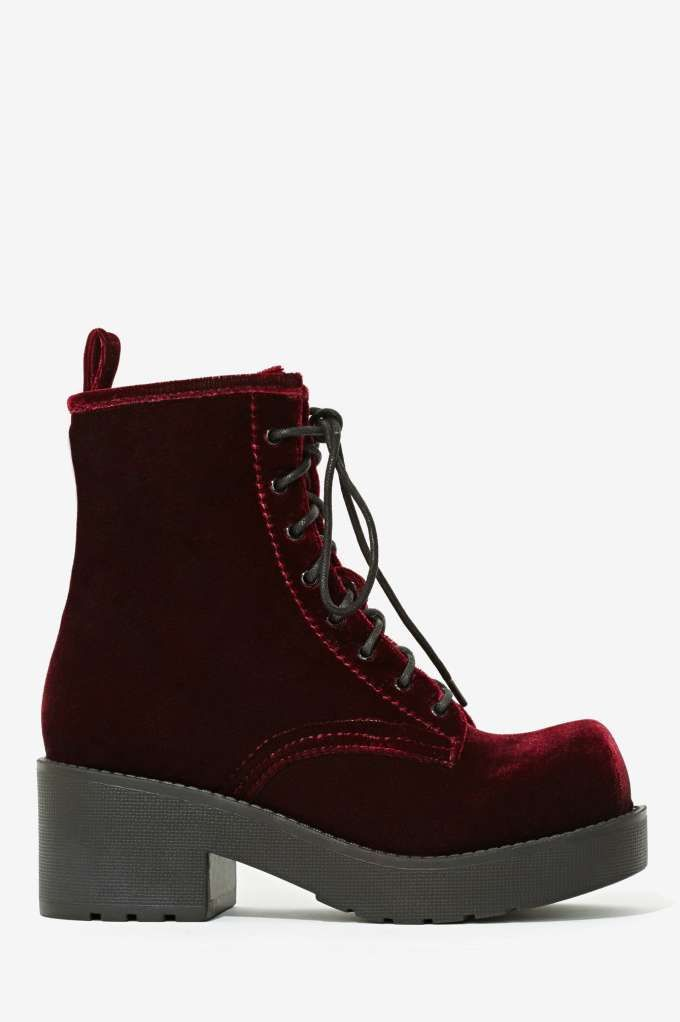 Jeffrey Campbell Gnarly Velvet Boot - Shoes | Lace-Up | Shoes | Jeffrey Campbell (OMG these are sooooo cute! And they have a rocky horror picture show vibe <3)