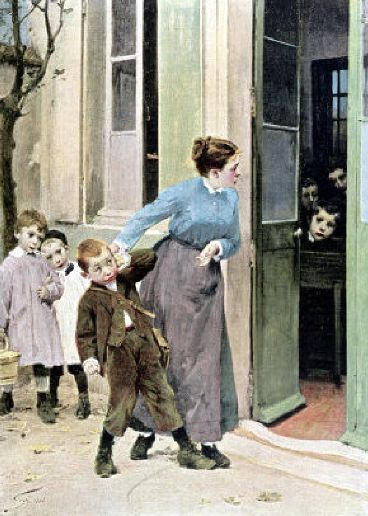 """Compulsory Education"". Henri Jules Jean Geoffroy (1853-1924), French painter."