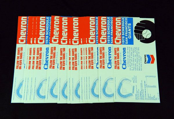 Lot of (15) 1978 Chevron San Francisco Giants Baseball Flat Pocket Schedules #sfgiants