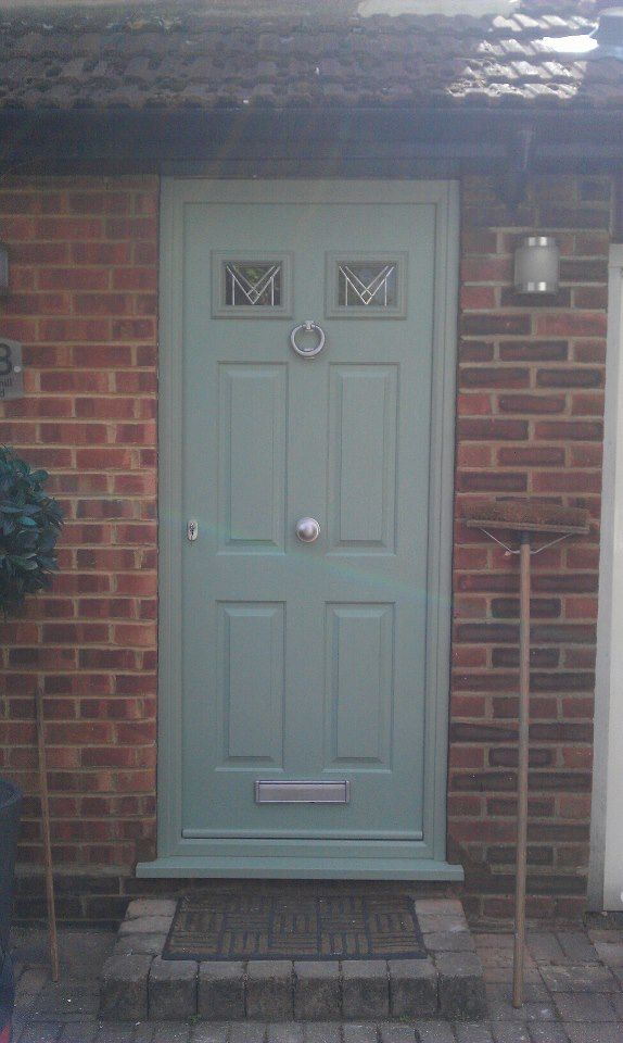 Timber composite finished in a heritage colour - Chartwell green. This colour is very popular in The Beautiful Cotswold villages in the U.K. Farrow and Ball paint manufacturer produce it. Of course this is a Composite so it will never need painting. visit www.rockharddoors.com