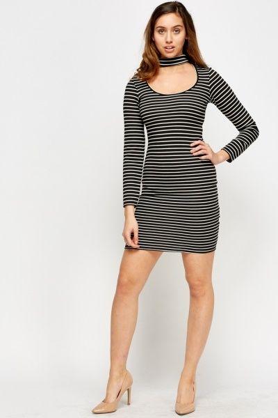 Choker Striped Bodycon Dress