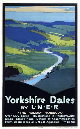 Yorkshire Dales Railway, England Vintage Travel Poster