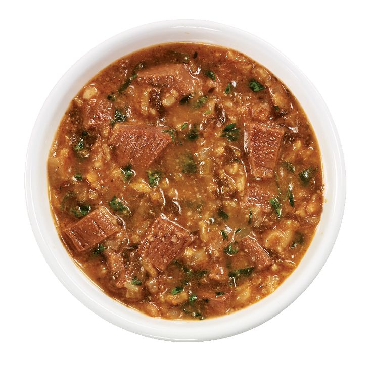 Georgian Kharcho from #YummyMarket - a traditional Georgian soup containing beef, rice, cherry plum purée and chopped walnuts.