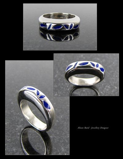 Light Sapphire enamel sterling silver ring