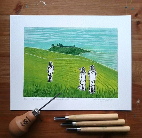 'Walk to Dunstanburgh Castle' a lino print by Jo Degenhart