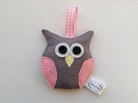 Grey Felt Owl Hanging Decoration Pink & Grey Gift by BellaandRoo