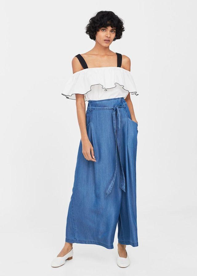 Spodnie z miękkiej tkaniny z wiązaniem