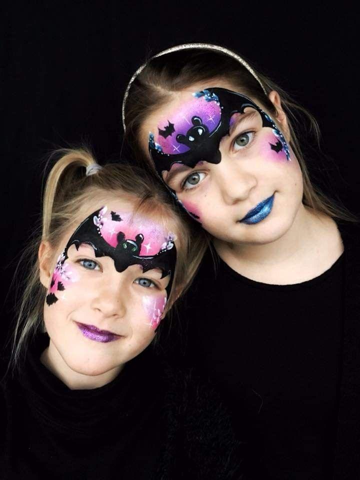 Halloween Gesichter Kinderschminken.Fledermaus Schminke Fledermaus Hallowenschminke Schminke Kinder Schminken Kinderschminken Schminken