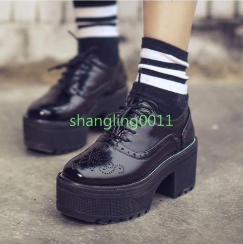 Mujer-Gotico-Tacones-Gruesos-Plataforma-Con-Cordones-Punta-corte-ingles-Oxford-Brogue-Zapatos-Bombas
