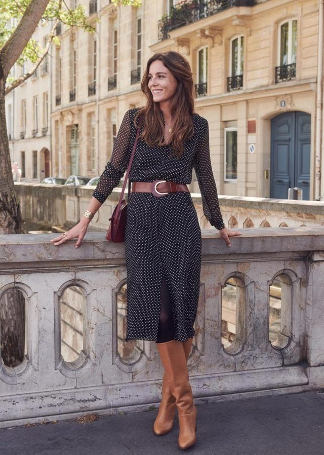 love this dress and boots  fashion work outfits women