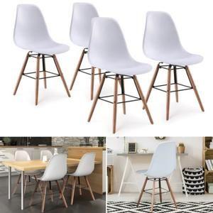 Chaises x4 design scandinave blanches pieds bois en 2018   Wish List ... 03272ae7890c