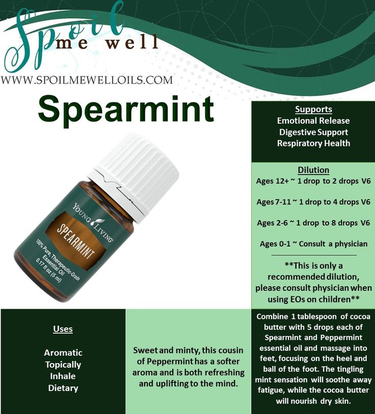 Spearmint Essential Oil, Young Living Essential Oils, sweet minty oil, all natural healthy families. dilution ratios