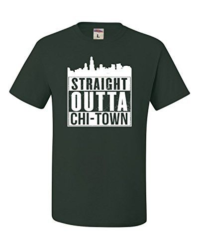 Custom T Shirts Online Men's Casual Crew Neck Short-Sleeve Straight Outta Chi-Town Funny Chicago Tee Shirts