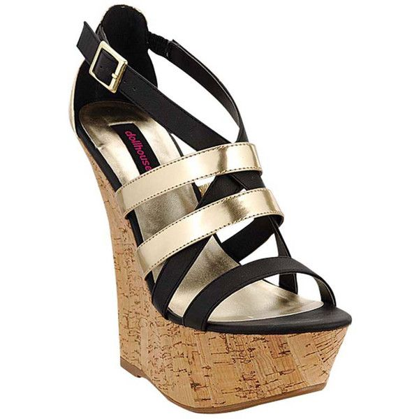 Dollhouse Foreign Wedge Sandal Sandal (325 ARS) ❤ liked on Polyvore featuring shoes, sandals, gold, wedge sandals, dollhouse sandals, gold wedge heel shoes, wedges shoes and wedge heel shoes