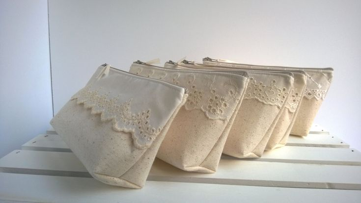 Lace and Linen Bridesmaid Clutches Cotton Clutches Lace