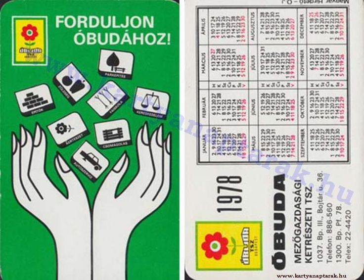 1978 - 1978_0927 - Régi magyar kártyanaptárak