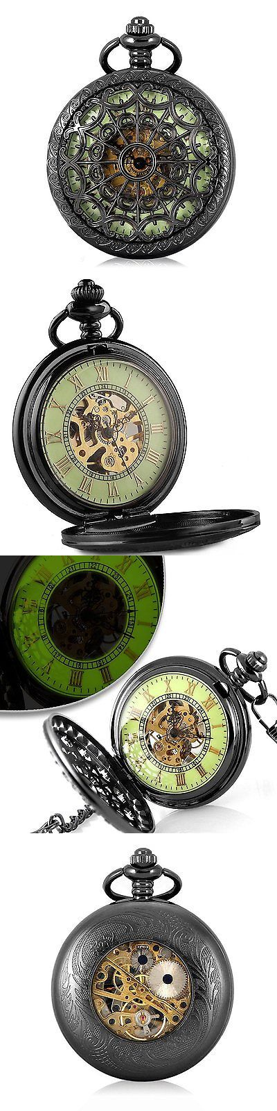 Modern 3938: Carrie Hughes Retro Mechanical Pocket Watch Skeleton Hand-Wind Engraved Luminous BUY IT NOW ONLY: $30.97