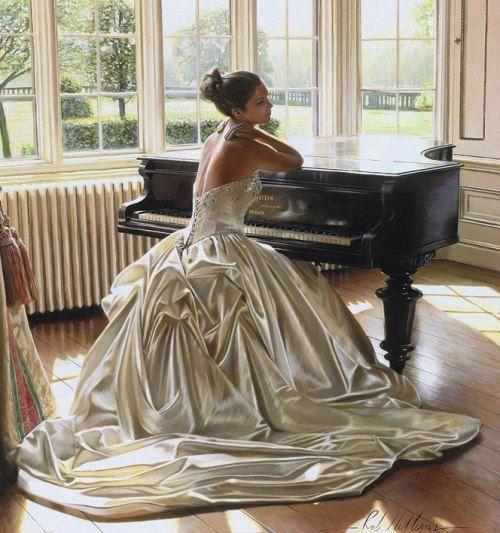 Artist: Rob Hefferan; art; paintings; hyper realistic painting; wedding dress; beauty; beautiful women; romance; romantic; beauty; love; bride; white; piano; the look of love
