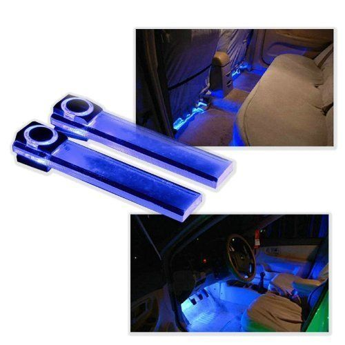 Wisedeal 4in1 12V Car Auto Interior LED Atmosphere Lights Floor Decoration Lamp Blue (610079045545) One set of atmosphere lights, including 4 LED lights and 1 cigarette lighter. 360 degree for adjusting.Adding infinite romance to your loved car. ON-OFF switch on the cigarette lighter. Double-side adhesive tap available for installation. It can be used on the car interior floor or dash.